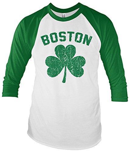 Threadrock Boston Shamrock Unisex Raglan T-Shirt XL White/Kelly