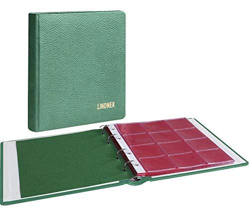 LINDNER Album numismatique Karat Cuir, avec 10 Feuilles numismatiques - Vert
