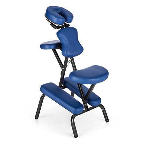 Klarfit MS 300 Siège chaise massage tatouage (en acier, max. 120kg, pliable et livré avec son sac de transport, rembourrage en mousse épais de 5 cm) - bleu