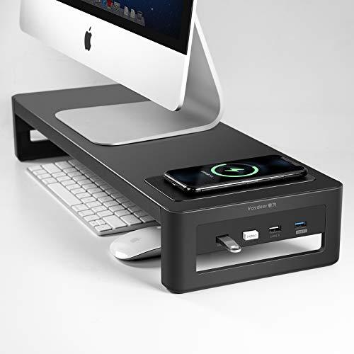 Suporte para monitor VAYDEER com hub USB 3.0, suporte para transferência de dados e carregamento, teclado e mouse, organizador de mesa de aço para laptop de até 27 e 30 kg