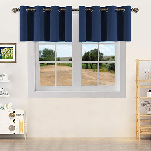 YGO Thermal Insulated Blackout Kitchen Valances Energy Efficient Grommet Top Valance Drapes for Small Window Navy Double Panels W52 x L18 Inch