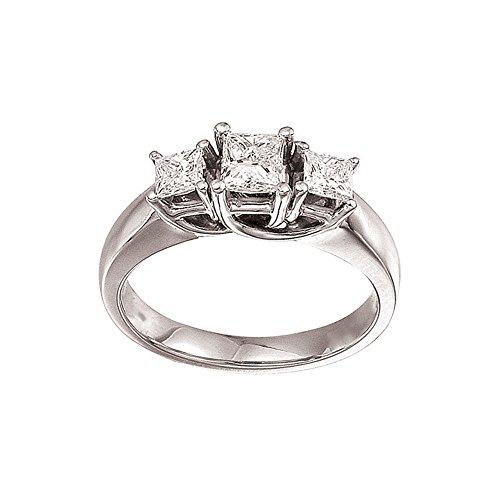 14 K oro blanco 1.00 Ct anillo de diamantes de tres piedras de enrejado