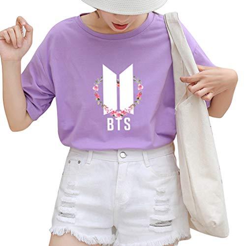 Flyself Unisexe T-Shirt Kpop Top Mode Bangtan Boys BTS T-Shirt Love Yourself Chemises pour Army Jimin Jung Kook V