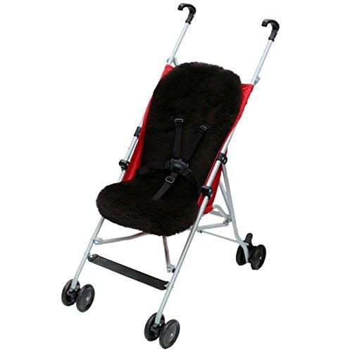 Lammfell - BUGGY Einlage Kinderwagen Felleinlage Baby Merino Schaffell Farbe Schwarz