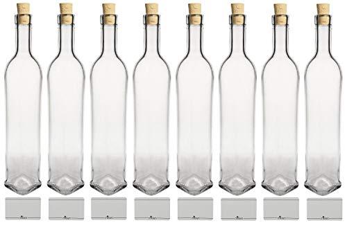mikken 8 x Glasflasche 500 ml - Flasche mit Korken inkl Beschriftungsetiketten