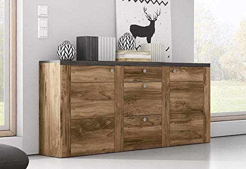 Moebelaktionsshop24 Sideboard Wohnzimmer WOHNWAND Satin NUSSBAUM Darkwood MATT NEU 838434
