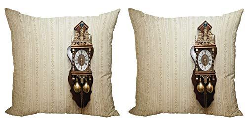 ABAKUHAUS Antiguo Set de 2 Fundas para Cojín, Reloj de Pared de Madera Talla, con Estampado en Ambos Lados con Cremallera, 45 cm x 45 cm, Brown y Tan
