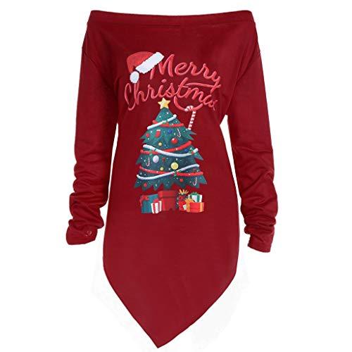 Lazzboy Frauen Weihnachtsdruck Buchstabe Kleid Damen Weihnachtsbaum Lange Hülsen Partei Kleider Strickwaren Mantel Tops Langarm Weihnachten Pullover Langarm-Kleid(Rot,XL)