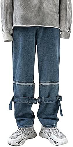 Minetom Hose Herren Jeans Gerades Bein Denim Jeans Retro Baggy Loose Fit Hose Jogginghose Cargohosen Streetwear für Männer Y3 Blau XS