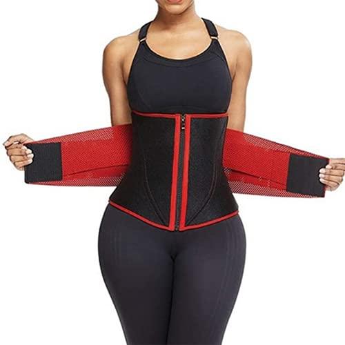 Shapewear Faja Corset Cintura Reductora CinturóN de Sudor Caliente Cuerpo Cincher Waist Trainer Deporte Lumbar S-3XL(Color:红色,Size:L)