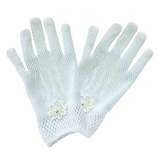 Elegantes Guantes Decorativos Blancos con Perla Blancas para Comunión. Complementos. Joyas y Bisutería. Regalos Originales. Detalles de Bodas, Comuniones, Bautizos. CC