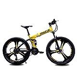 JESU Bicicletas de montaña de acero al carbono de la bici de 26/24 pulgadas, bicicleta plegable de velocidad variable MTB, bicicleta amortiguadora doble, amarillo 26 pulgadas, 24 velocidades