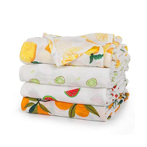 upsimples Baby Swaddle Blanket Unisex Swaddle Wrap Soft Silky Bamboo Muslin Swaddle Blanket Neutral Receiving Blanket for Boys and Girls, Large 47 x 47 inches, Set of 4