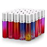 25 Pack Roller Bottles, Sungwoo 10ml Essential Oil Glass Roller Bottle with Stainless Steel Roller Balls Multi-Color