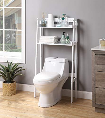 White Finish 2-Tier Leaning Shelf Bathroom Organizer Over The Toilet, Bathroom Spacesaver Rack