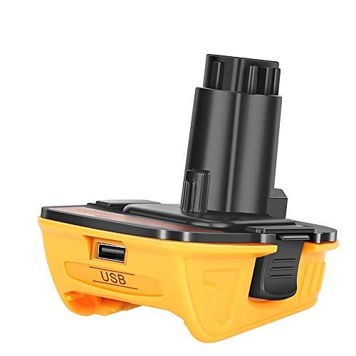 Dewalt 20V DCA1820 de repuesto con adaptador USB compatible con herramientas Dewalt de 18 V, batería de litio de 20 V DCB204 DCB205 DCB206 DCB606 a Dewalt 18V NiCad NiMh