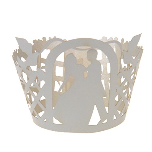 50x Bride Groom Muffin Cup Cake Wrapper Case Wedding Party Liner Decoration