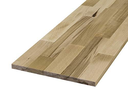 Rettenmeier 18x400x1200mm 2 Stück Massivholz-Möbelplatten Massivholzplatten B/B-Standard-Qualität Eiche PEFC zertifiziert, unbehandelt