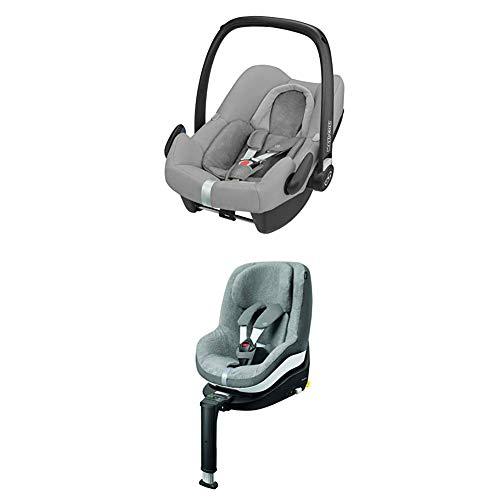 Maxi-Cosi Pearl ONE i-Size Reboarder passend zur FamilyFix ONE i-Size Basisstation, Kinderautositz Gruppe 1 (9-18 kg), nomad grey (grau) + Pearl Sommerbezug, cool grey
