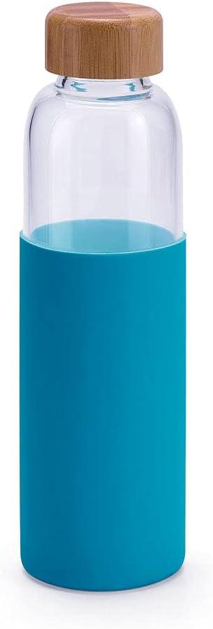 Botella de Vidrio Borosilicato Reutilizable   Silicona Antideslizante y Cierre de Bambú   Capacidad de 600 ml. (Azul Turquesa)