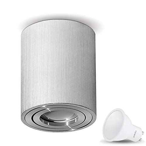 Preisvergleich Produktbild Aufbauleuchte Deckenleuchte Aufputz MILANO -LANG- 1W LED Warmweiss GU10 Fassung 230V [rund,  alu-silber,  schwenkbar] Deckenleuchte Strahler Würfelleuchte CUBE Kronleuchter aus Aluminium gebürstet Spot