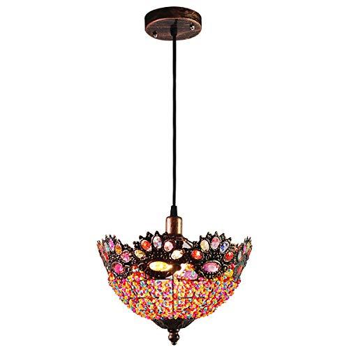 HUUSYGZH Lámpara de Linterna marroquí única, Retro Metal acrílico Gema Estilo marroquí de Estilo Adornado Colgante de luz de Tono de luz con 7 Colores Perlas diámetro 27 cm
