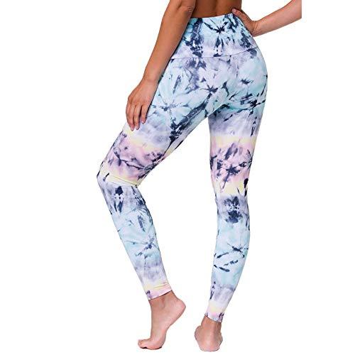 Janly Clearance Sale Pantalones de yoga para mujer, leggings de entrenamiento, fitness, control de barriga, entrenamiento, yoga, entrenamiento, Pascua, San Patricio, descuentos (azul cielo-XL)