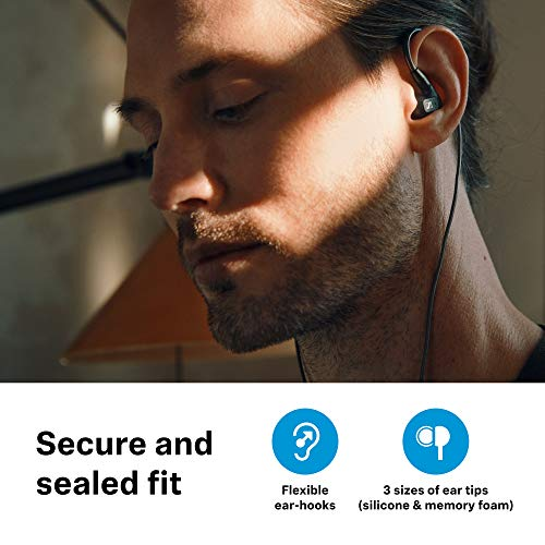 Sennheiser IE 300 in-Ear Audiophile Headphones - Sound Isolating with XWB Transducers for Balanced Sound, Detachable Cable with Flexible Ear Hooks, 2-Year Warranty (Black)