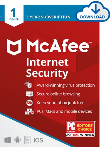 McAfee Internet Security 2021 | 1 Device | 3 Years | PC/Mac/Android |...