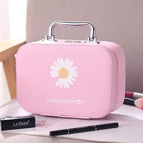 Sac cosmétique Portable Grande capacité Sac de Rangement de Voyage Main étanche boîte de Maquillage 15 * 22 * 8 CM Petit Rose