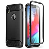 iPhone XR Case, Clayco [Xenon] Full-Body Rugged Case with Built-in Screen Protector for Apple iPhone XR 6.1 Inch 2018 (Black)