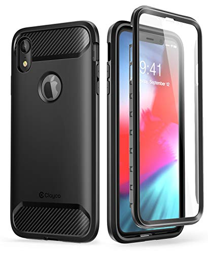 Clayco Funda iPhone XR, (Serie Xenon) de Envotura Completa con Protector de Pantalla Curvo para iPhone XR iPhone 6.1 Funda(Version 2018) (Negro)