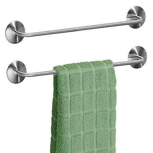 mDesign 2er-Set Handtuchhalter ohne Bohren – selbstklebende Handtuchstange aus gebürstetem Edelstahl – perfekt als Geschirrtuchhalter oder für Handtücher im Bad – mattsilberfarben