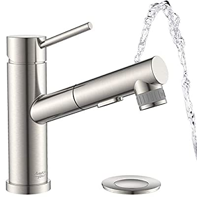 AMAZING FORCE Bathroom Faucet Pull Out Brushed Nickel Bathroom Sink Faucet RV Bathroom Faucet Single Handle Utility Sink Faucet with Pop-up Drain