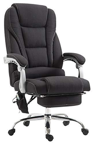 CLP Chefsessel Pacific Stoff mit Massagefunktion l Höhenverstellbarer Bürostuhl mit ausziehbarer Fußablage l Max. belastbar bis 150 kg, Farbe:schwarz