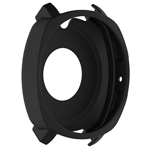 AWADUO für Samsung Gear Sport SM-R600 Silikon Schutzhülle Shell, Smartwatch Schutzhülle für Samsung Gear Sport SM-R600 Smartwatch, weich & langlebig(Silikon Schwarz)
