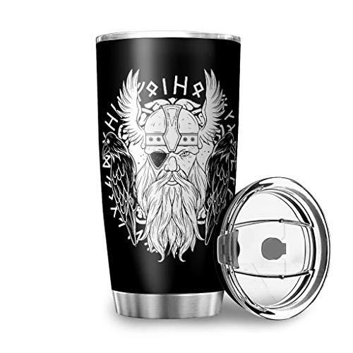 Dessionop Botella de agua vikinga Odin de dos cuervos escandinavos con impresión para coche, botella de agua deportiva de 20 oz antigoteo, tapa abatible blanca, 600 ml