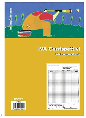 EDIPRO - E2102A - Registro prima nota IVA corrispettivi 25x2 autoricalcante f.to 29,7x22,5