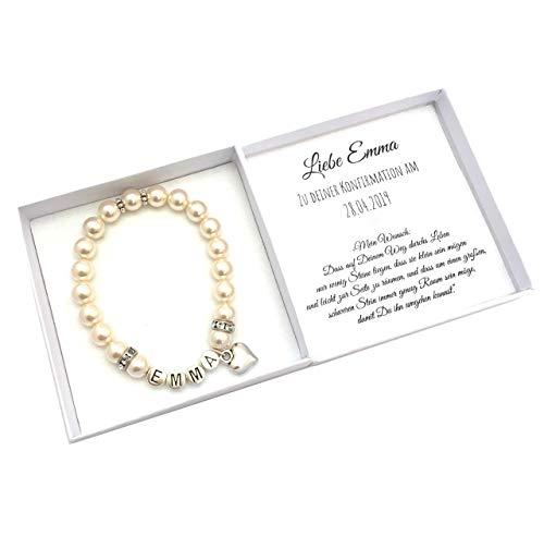 Konfirmation Geschenk Mädchen, Namensarmband, Box mit Personalisierung, Konfirmationsgeschenk