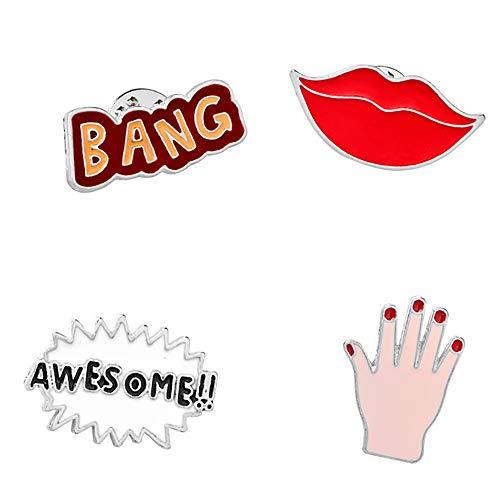 Hui Jin 4 Stück Emaille-Anstecknadel sexy rote Lippen Palm Buchstaben Bang Muster Badge Pins für Rucksack DIY Handwerk
