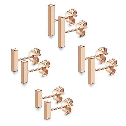 JewelryWe Schmuck 4 Paar 6-12MM Ohrstecker Set Edelstahl Mini Quader Bar Ohrringe Ohr-Piercings für Herren Damen Rosegold