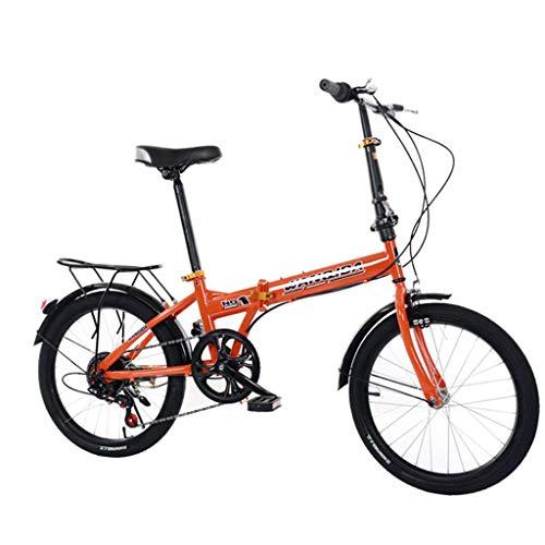 Sport & Freizeit 6 Speed klappräder 20 Zoll, Fahrrad Faltrad leicht, Cityräder für Damen & Herren, Klappräder Mountainbike, Nabenschaltung klappräder für Erwachsene (Orange)