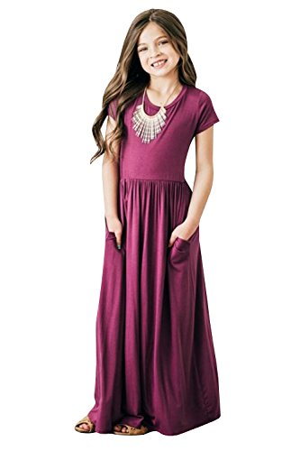 Girls Casual Short Sleeve Fit and Flare Maxi Dress $12 (60% Off at checkout)
