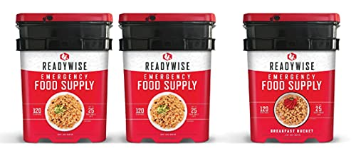 ReadyWise Long Term Emergency Food Supply, Breakfast and Entree Variety (3 Buckets- Total of 360 Servings)