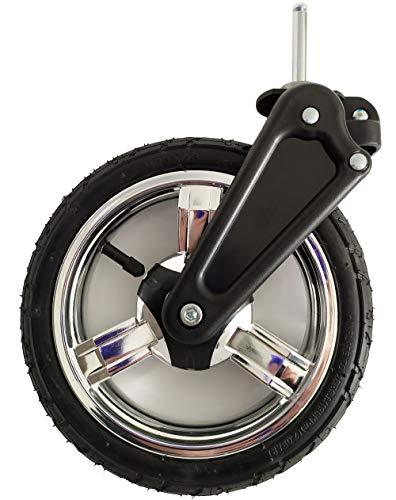 Kinderwagen Vorderrad Schwenkrad Capri mit Gabel, Reifen 225x48 luftbereift, Kunststofffelge Silber