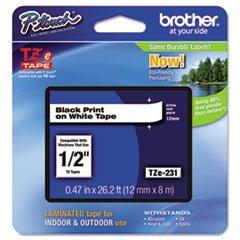 (3 Pack Value Bundle) BRTTZE231 TZe Standard Adhesive Laminated Labeling Tape, 1/2w, Black on White