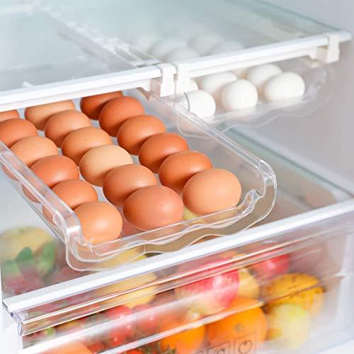 Soporte De Almacenamiento De Huevos con Desplazamiento Automático, Organizadores De Nevera De Cocina, Estante De Almacenamiento, Soporte De Estante para Congelador, Armario De Cocina