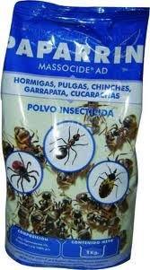MASSOCIDE Polvo insecticida contra Hormigas, pulgas, chinches, garrapatas y cucarachas. 1 kg