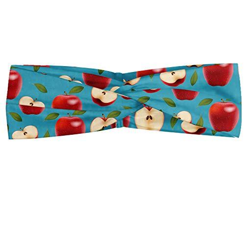 ABAKUHAUS Apfel Halstuch Bandana Kopftuch, Halbierte und ganze Red Delicious Äpfel auf Abstrakt Healthy Choices Hintergrund, Elastisch und Angenehme alltags accessories, Creme Blau Rubin