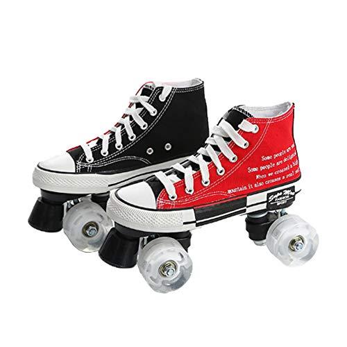 Segeltuch Roller Skates Doppelreihe Quad Roller Skates Anfänger Sport Draußen Beiläufig Fitness Für Männer Und Frauen Atmungsaktiv Rollschuhe,A,42